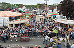 Gypsy annual Horse Fair. Wickham Hampshire UK. Overall view of town square. Position thanks to Bob Aylott photographer, at Fareham Town Photographic Studio. Hampshire .