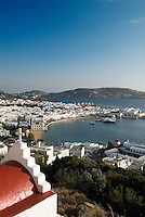 Inhabited since the 5th millennium BCE, the Greek island of Mykonos (Chora) is part of a cluster of 220 islands known as Cyclades in the Aegean Sea. Since the 1950s, Mykonos has become one of the most popular tourist islands of the Mediterranean and a popular port of call for cruse ships.