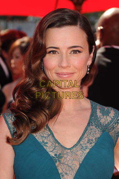 Linda Cardellini<br /> 2013 Primetime Creative Arts Emmy Awards - Arrivals held at Nokia Theatre LA Live, Los Angeles, California, USA.<br /> September 15th, 2013<br /> headshot portrait blue teal lace  <br /> CAP/ADM/BP<br /> &copy;Byron Purvis/AdMedia/Capital Pictures