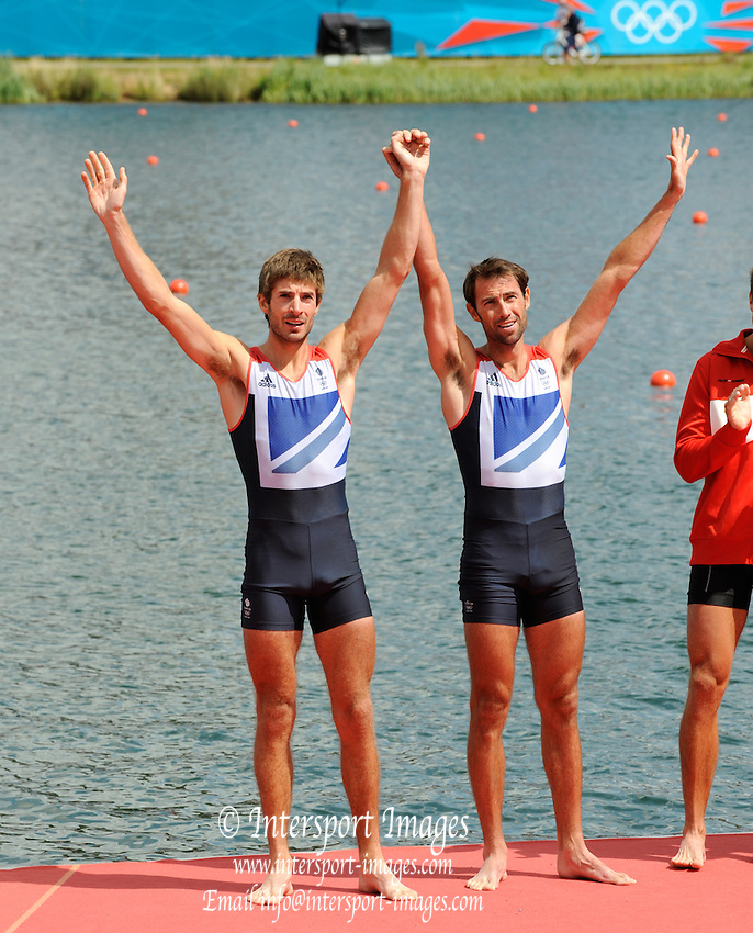 Eton Dorney, Windsor, Great Britain,..2012 London Olympic Regatta, Dorney Lake. Eton Rowing Centre, Berkshire.  Dorney Lake.  .GBR LM 2X Silver Medalist Mark HUNTER and left,  Zac PURCHASE..12:55:24  Saturday  04/08/2012 [Mandatory Credit: Peter Spurrier/Intersport Images]
