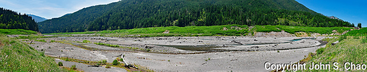 Panorama of Upper Elwha River, formerly Lake Mills, above Glines Canyon Dam artifact. Olympic National Park, Washington State
