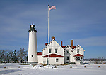 Point Iroquois Lighthouse in winter 2 lighthouses in the Upper Peninsula of Michigan