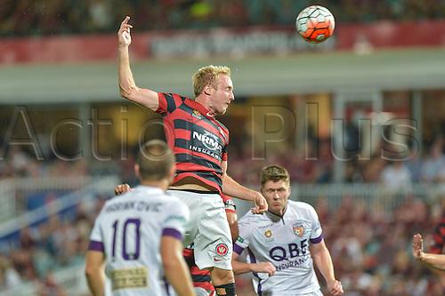 26.02.2016. Pirtek Stadium, Parramatta, Australia. Hyundai A-League. Western Sydney Wanderers versus Perth Glory. Wanderers midfielder Mitch Nichols header goes wide.
