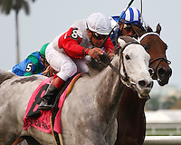 Hit It Rich (8) with Javier Castellano up getting by Aqsaam (2) to win the Orchid Stakes (G3T). Gulfstream Park Hallandale Beach Florida. 03-31-2012. Arron Haggart / Eclipse Sportswire