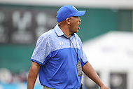 Washington, DC - September 16, 2016: Hampton Pirates head coach Connell Maynor yells at the referee during game between Hampton and Howard at  RFK Stadium in Washington, DC. September 16, 2016.  (Photo by Elliott Brown/Media Images International)