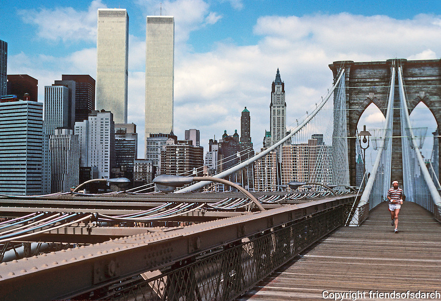 New York: World Trade Center and Woolworth Building from Brooklyn Bridge. Photo '78.