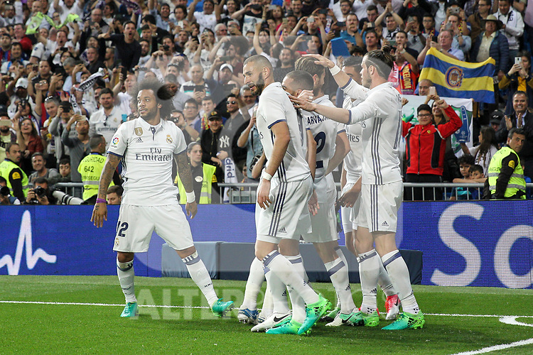 Carlos Henrique Casemiro, Karim Benzema, Garet Bale, Marcelo Vieira  of Real Madrid celebrates after scoring a goal during the match of La Liga between Real Madrid and Futbol Club Barcelona at Santiago Bernabeu Stadium  in Madrid, Spain. April 23, 2017. (ALTERPHOTOS)