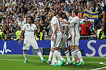Carlos Henrique Casemiro, Karim Benzema, Garet Bale, Marcelo Vieira  of Real Madrid celebrates after scoring a goal during the match of La Liga between Real Madrid and Futbol Club Barcelona at Santiago Bernabeu Stadium  in Madrid, Spain. April 23, 2017. (ALTERPHOTOS)