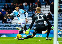 Blackburn Rovers' Danny Graham sees an early chance saved by Queens Park Rangers' Joe Lumley<br /> <br /> Photographer Alex Dodd/CameraSport<br /> <br /> The EFL Sky Bet Championship - Blackburn Rovers v Queens Park Rangers - Saturday 3rd November 2018 - Ewood Park - Blackburn<br /> <br /> World Copyright © 2018 CameraSport. All rights reserved. 43 Linden Ave. Countesthorpe. Leicester. England. LE8 5PG - Tel: +44 (0) 116 277 4147 - admin@camerasport.com - www.camerasport.com