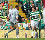 Artur Boruc squares up to Gary Caldwell