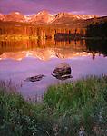 Rocky Mountain National Park, CO<br /> Dawn light on Otis Peak, Hallett Peak, and Flattop Mountain with reflections on Sprague Lake