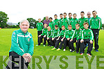 The Castleisland AFC players who are travelling to Rossendale England next week where they will play teams in the Manchester area and attend Premiership games front row l-r: Jonathan Healy, Colm Roche, Daniel Kelly Connie O'Connor Patrick Roche, Brian Daly, Darragh Burke. back row: Danny Hickey, John Mitchell, Jack Brosnan-Reidy, Cathal O'Donoghue, Edward Horan, Shay Walsh, Patrick Horan, Jack Flynn, Sean Horan, Donal Flaherty and Cian Mangan