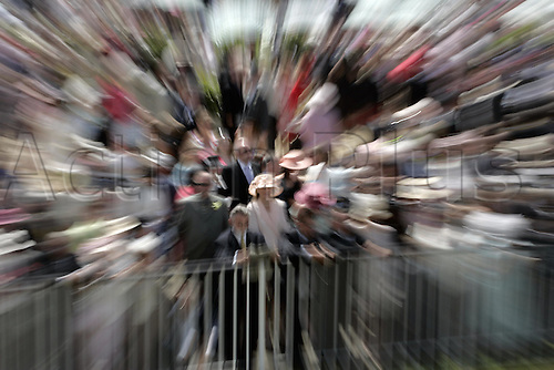 19 June 2004: Effect shot of crowds in the Paddock at Royal Ascot. Photo: Steve Bardens/Action Plus...040619 horse racing blur blurred speed movement effects hat hats fashion zoom burst