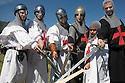 Supporters of Lega Nord (North League party) dressed as medieval warrios at Pontida meeting, Sunday, June 19, 2011. © Carlo Cerchioli..Militante della Lega Nord vestiti come guerrieri medioevali al raduno di Pontida, 19 giugno 2011.