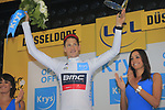 Stefan Kung (SUI) BMC Racing Team wins the 1st young riders White Jersey at the end of Stage 1, a 14km individual time trial around Dusseldorf, of the 104th edition of the Tour de France 2017, Dusseldorf, Germany. 1st July 2017.<br /> Picture: Eoin Clarke | Cyclefile<br /> <br /> <br /> All photos usage must carry mandatory copyright credit (&copy; Cyclefile | Eoin Clarke)