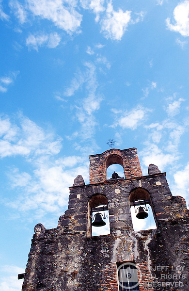 The chapel of Mission Espada in San Antonio, Texas. Now operated by the National Park Service, Mission Espada is one of several missions in the San Antonio area, along with Mission Concepción, Mission San Juan and the famed Alamo.