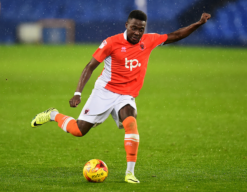 Bright Osayi-Samuel of Blackpool in action<br /> <br /> Photographer Richard Martin-Roberts/CameraSport<br /> <br /> The Checkatrade Trophy - Northern A - Everton U21 v Blackpool - Tuesday 8th November 2016 - Goodison Park - Liverpool<br />  <br /> World Copyright &copy; 2016 CameraSport. All rights reserved. 43 Linden Ave. Countesthorpe. Leicester. England. LE8 5PG - Tel: +44 (0) 116 277 4147 - admin@camerasport.com - www.camerasport.com