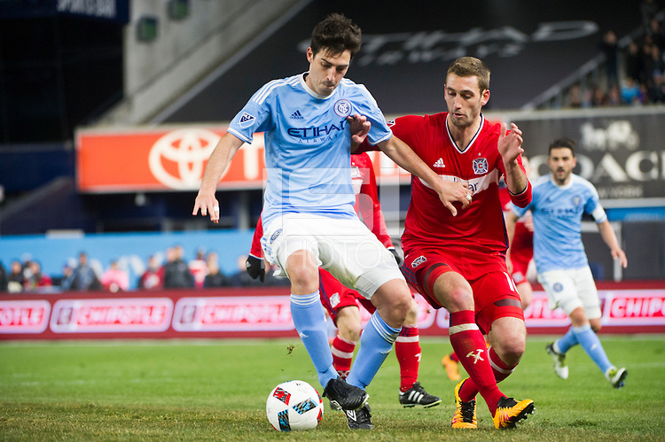 BRONX, NY - Sunday, April 10, 2016: New York City FC takes on the Chicago Fire at home at Yankee Stadium in MLS regular season play.