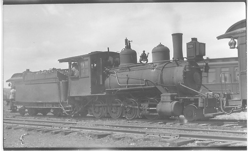 3/4 engineer's-side view of D&amp;RG #285 switching at Gunnison.<br /> D&amp;RG  Gunnison, CO  Taken by Perry, Otto C. - 5/28/1923
