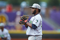 Lynchburg Hillcats first baseman Jose Vicente (25) on defense against the Winston-Salem Dash at BB&T Ballpark on May 9, 2019 in Winston-Salem, North Carolina. The Dash defeated the Hillcats 4-1. (Brian Westerholt/Four Seam Images)
