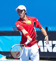 KEI NISHIKORI (JPN) against STEPHANE ROBERT (FRA) in the first round of the Men's Singles. Kei Nishikori beat Stephane Robert  6-1 7-6 6-0 ..17/01/2012, 17th January 2012, 17.01.2012..The Australian Open, Melbourne Park, Melbourne,Victoria, Australia.@AMN IMAGES, Frey, Advantage Media Network, 30, Cleveland Street, London, W1T 4JD .Tel - +44 208 947 0100..email - mfrey@advantagemedianet.com..www.amnimages.photoshelter.com.