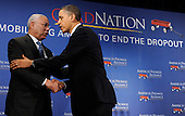 United States President Barack Obama, right, shakes hands with former U.S. Secretary of State General Colin Powell, after delivering remarks Monday, March 1, 2010, at an America's Promise Alliance education event, in Washington,D.C.  Obama announced new steps to improve the nation's schools, and cited the Alliance, founded by Powell, as an example of a partnership organization dedicated to improving the lives of America's children and youth.  .Credit: Mike Theiler / Pool via CNP