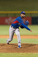 AZL Rangers relief pitcher Luis Rosario (76) follows through on his delivery during an Arizona League playoff game against the AZL Cubs 1 at Sloan Park on August 29, 2018 in Mesa, Arizona. The AZL Cubs 1 defeated the AZL Rangers 8-7. (Zachary Lucy/Four Seam Images)