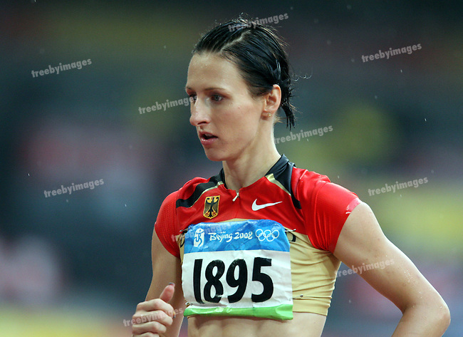 German High Jumper Ariane Friedrich waits for the start of the High Jump Qualifications to start..National Stadium, Beijing Olympics 21-8-08     .Photo: Grant Treeby/WSP
