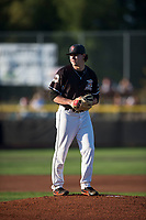 Salem-Keizer Volcanoes starting pitcher Seth Corry (28) gets ready to deliver a pitch during a Northwest League game against the Eugene Emeralds at Volcanoes Stadium on August 31, 2018 in Keizer, Oregon. The Eugene Emeralds defeated the Salem-Keizer Volcanoes by a score of 7-3. (Zachary Lucy/Four Seam Images)