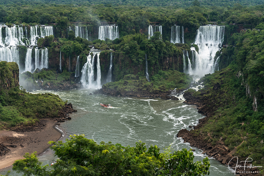 Iguazu Falls National Park in Argentina, as viewed from Brazil.  A UNESCO World Heritage Site.  Pictured from left to right are the Mbigua, Bernabe Mendez, Adam and Eve, and Bossetti Falls.