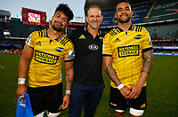 Ardie Savea with John Plumtree (Head Coach) of the Hurricanes and Dane Coles of the Hurricanes during the Super Rugby match between Cell C Sharks and Hurricanes at Jonsson Kings Park Stadium in Durban, South Africa on Saturday, 1 June 2019. Photo by Steve Haag / stevehaagsports.com