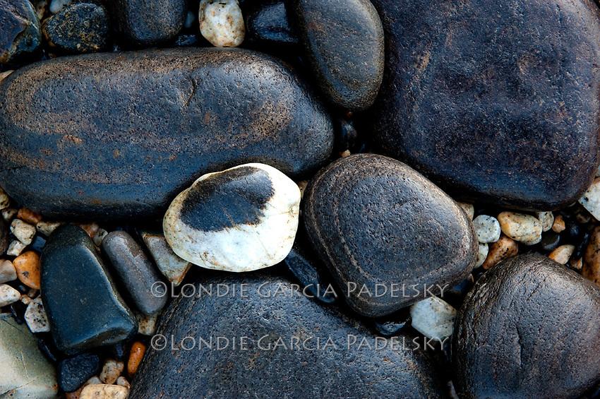 Black and white beach rocks at Ernest Sound, Southeastern, Alaska