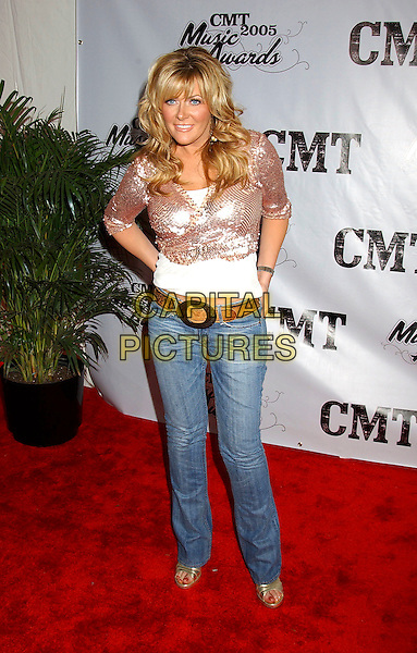 JAMIE O'NEAL.2005 CMT Music Awards held at the Gaylord Entertainment Center, Nashville, Tennessee, USA, .11 April 2005..full length denim jeanssequined shrug cropped cardigan o'neil belt.Ref: ADM.www.capitalpictures.com.sales@capitalpictures.com.©Laura Farr/AdMedia/Capital Pictures.
