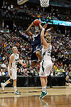 01 APRIL 2012:  Tiffany Hayes (3) of the University of Connecticut drives to the hoop against Brittany Mallory (22) of the University of Notre Dame during the Division I Women's Final Four Semifinals at the Pepsi Center in Denver, CO.  Notre Dame defeated UCONN 83-75 to advance to the national championship game.  Jamie Schwaberow/NCAA Photos