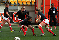 Canada warms up for the 2017 International Women's Rugby Series rugby match between the NZ Black Ferns and Canada at Westpac Stadium in Wellington, New Zealand on Friday, 9 June 2017. Photo: Dave Lintott / lintottphoto.co.nz