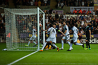 Thursday  03 October  2013  Pictured: Swansea's near miss in the first half<br /> Re:UEFA Europa League, Swansea City FC vs FC St.Gallen,  at the Liberty Staduim Swansea