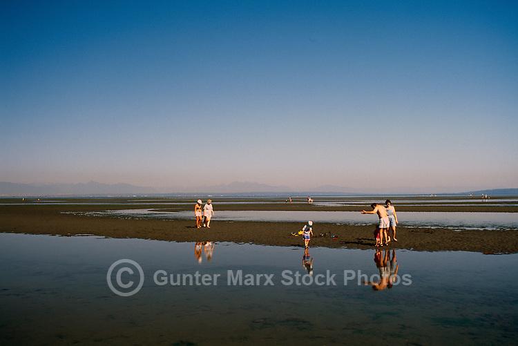 Summer Recreational Activities along Pacific Ocean, Boundary Bay Regional Park, Delta, BC, British Columbia, Canada - People walking on Sandy Beach