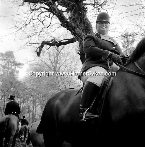 The Duke of Beaufort Hunt...The mounted field wait in a clearing on the Badminton estate, while the huntsman and hounds draw a covert. The Boxing Day Meet, Worcester Lodge, near Didmarton, Gloucestershire 2002. Unlike most hunts, the huntsman and whips do not wear traditional red coats, they wear green which was the colour of the livery worn by outdoor servants - coachmen and hunt servants. The Heythrop Hunt's livery is identical, echoing the days when all that country was hunted by the same pack. ..Hunting with Hounds / Mansion Editions (isbn 0-9542233-1-4) copyright Homer Sykes. +44 (0) 20-8542-7083. < www.mansioneditions.com >..