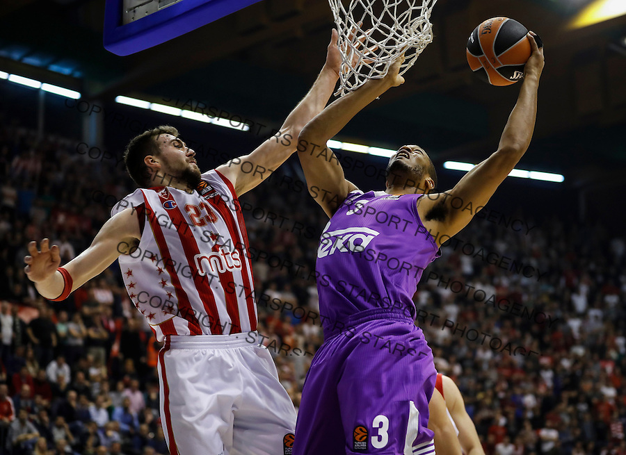 Kosarka Euroleague season 2016-2017<br /> Euroleague <br /> Crvena Zvezda v Real Madrid<br /> Anthony Randolph (R) and Marko Guduric<br /> Beograd, 22.12.2016.<br /> foto: Srdjan Stevanovic/Starsportphoto &copy;