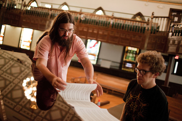 September 14, 2010.  Durham, North Carolina.. Matt White and Phil Cook work on the piano arrangement.. Day One of Sounds of the South, a reinterpretation of Alan Lomax's field recordings, with music by Megafaun, Fight the Big Bull, Sharon Van Etten and Justin Vernon of Bon Iver..
