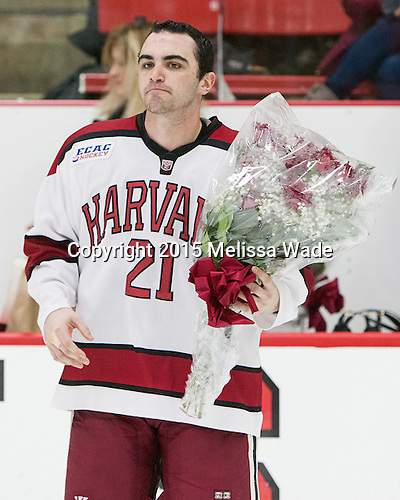 Tommy O'Regan (Harvard - 21) - The Harvard University Crimson defeated the visiting Princeton University Tigers 5-0 on Harvard's senior night on Saturday, February 28, 2015, at Bright-Landry Hockey Center in Boston, Massachusetts.