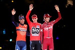 The general classification 1st overall Christopher Froome (GBR) Team Sky, 2nd place Vincenzo Nibali (ITA) Bahrain-Merida and 3rd place Ilnur Zakarin (RUS) Team Katusha Alpecin on the podium at the end of the final Stage 21 of the 2017 La Vuelta, running 117.6km from Arroyomolinos to Madrid, Spain. 10th September 2017.<br /> Picture: Unipublic/&copy;photogomezsport | Cyclefile<br /> <br /> <br /> All photos usage must carry mandatory copyright credit (&copy; Cyclefile | Unipublic/&copy;photogomezsport)