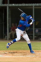 AZL Cubs 2 third baseman Fidel Mejia (17) at bat during an Arizona League game against the AZL Indians 2 at Sloan Park on August 2, 2018 in Mesa, Arizona. The AZL Indians 2 defeated the AZL Cubs 2 by a score of 9-8. (Zachary Lucy/Four Seam Images)