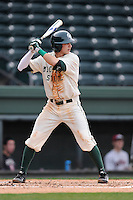 Second baseman PJ Nowak (1) of the Michigan State Spartans bats in a game against the Harvard Crimson on Saturday, March 15, 2014, at Fluor Field at the West End in Greenville, South Carolina. Michigan State won, 4-0. (Tom Priddy/Four Seam Images)