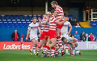 Picture by Allan McKenzie/SWpix.com - 17/04/2015 - Rugby League - Ladbrokes Challenge Cup - Wakefield Trinity Wildcats v Halifax RLFC - Rapid Solicitors Stadium, Wakefield, England - Halifax celebrate Ben Heaton's try.