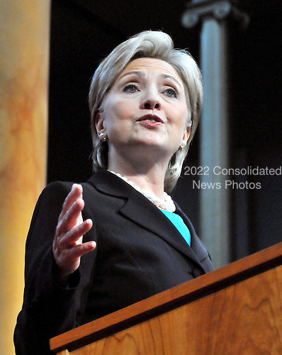Washington, DC - June 7, 2008 -- United States Senator Hillary Rodham Clinton (Democrat of New York) announces her support for United States Senator Barak Obama's (Democrat of Illinois) bid for President of the United States at an event Washington, D.C. on Saturday, June 7, 2008..Credit: Ron Sachs / CNP.(RESTRICTION: NO New York or New Jersey Newspapers or newspapers within a 75 mile radius of New York City)