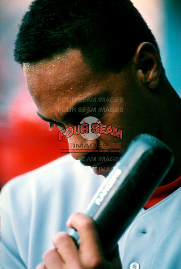 Juan Gonzalez of the Texas Rangers during a game at Dodger Stadium in Los Angeles, California during the 1997 season.(Larry Goren/Four Seam Images)
