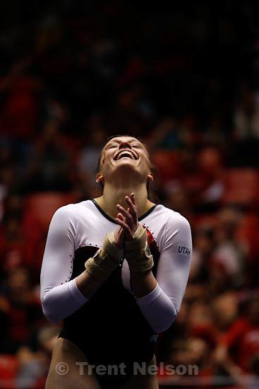 Trent Nelson  |  The Salt Lake Tribune.Salt Lake City - Utah's Daria Bijak gets applause after her floor routine, Utah vs. BYU college gymnastics Friday, March 26, 2010.