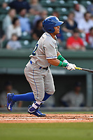 Second baseman Gabriel Cancel (12) of the Lexington Legends bats in a game against the Greenville Drive on Wednesday, April 12, 2017, at Fluor Field at the West End in Greenville, South Carolina. Greenville won, 4-1. (Tom Priddy/Four Seam Images)