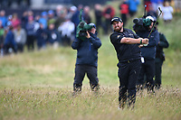 Shane Lowry (IRL) on the 1st during final round of the 148th Open Championship, Royal Portrush golf club, Portrush, Antrim, Northern Ireland. 21/07/2019.<br /> Picture Fran Caffrey / Golffile.ie<br /> <br /> All photo usage must carry mandatory copyright credit (© Golffile | Fran Caffrey)